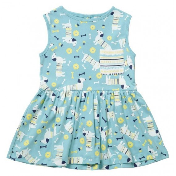 54d37496c This lovely blue short sleeve girls summer dress features a new Piccalilly  all-over sausage dog print. Made from organic cotton jersey we've combined  ...
